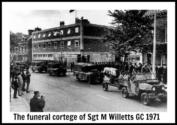The funeral cortege of Sgt M Willetts GC 1971