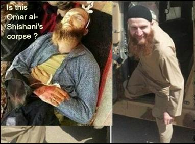 Omar al-Shishani's corpse with text