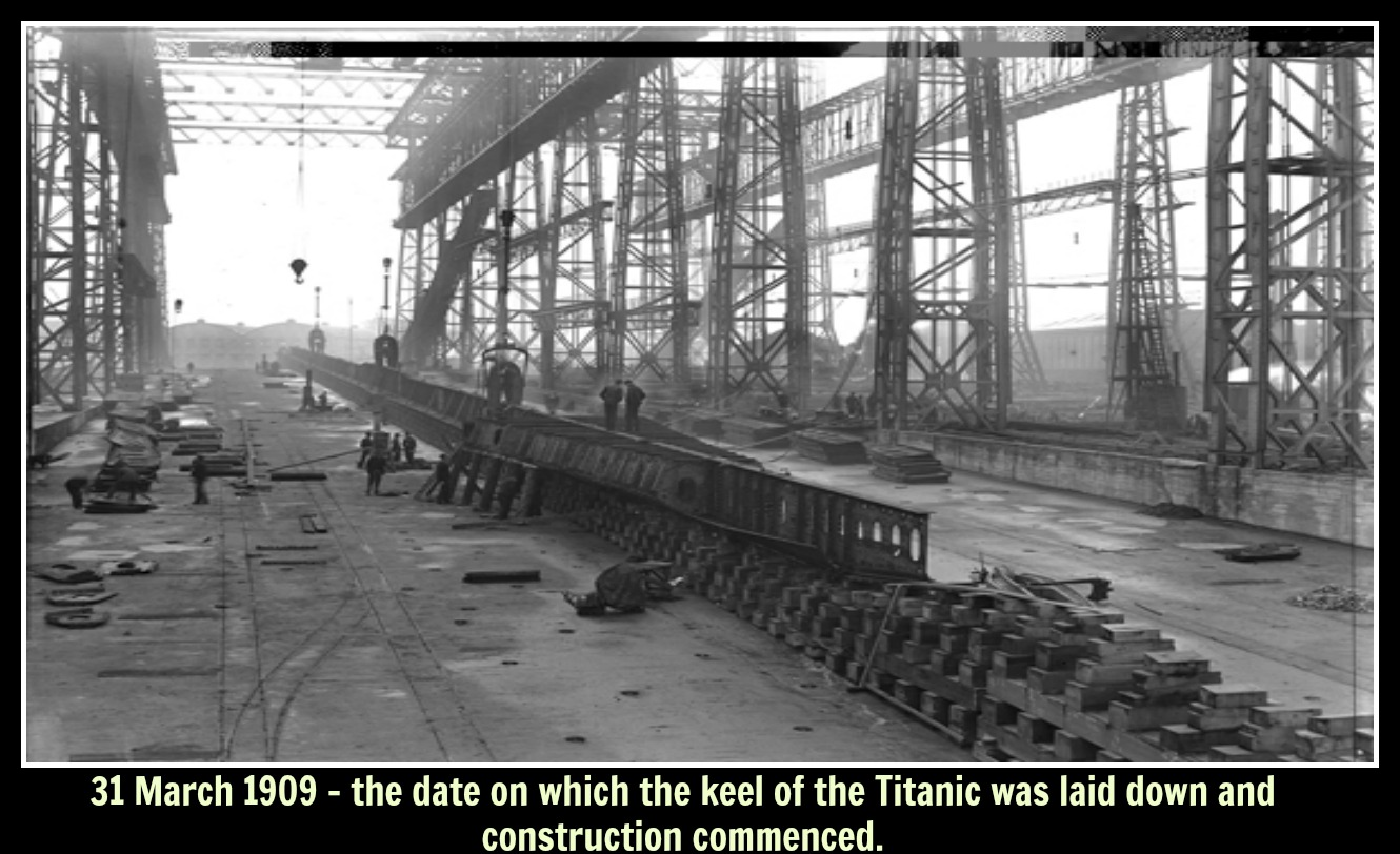 Construction of  the keel of Titanic with text