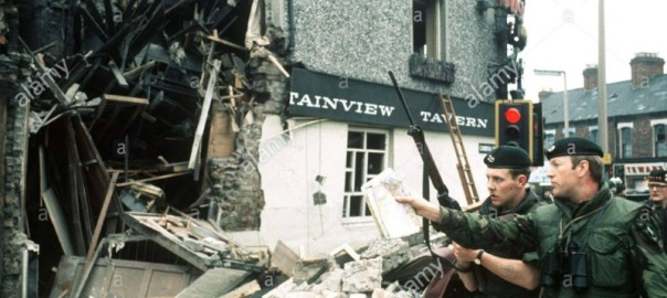 IRA bomb blast wrecks the Mountainview Tavern in Belfast  Soldiers view the destruction caused by the blast