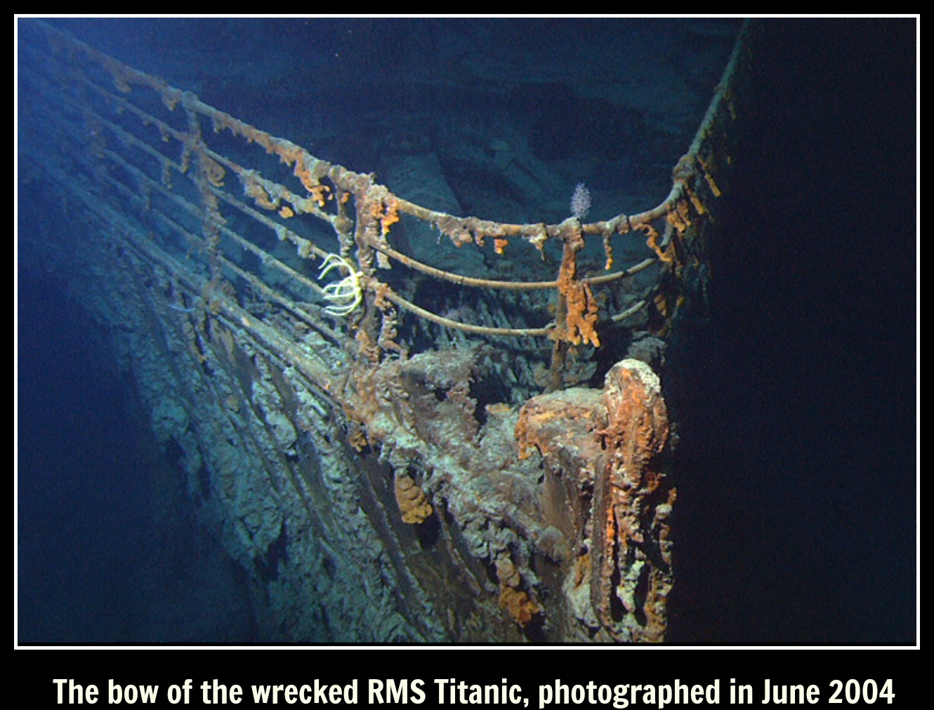 The bow of the wrecked RMS Titanic, photographed in June 2004 text