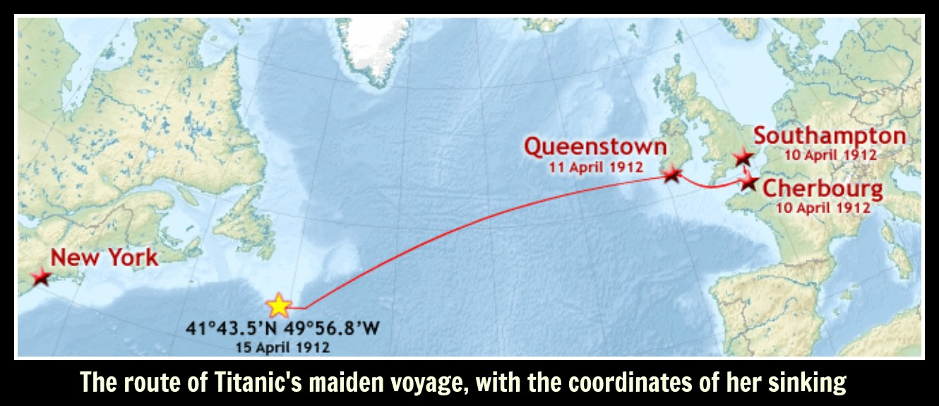 The route of Titanic's maiden voyage, with the coordinates of her sinking text