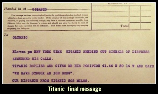 titanic  final message text