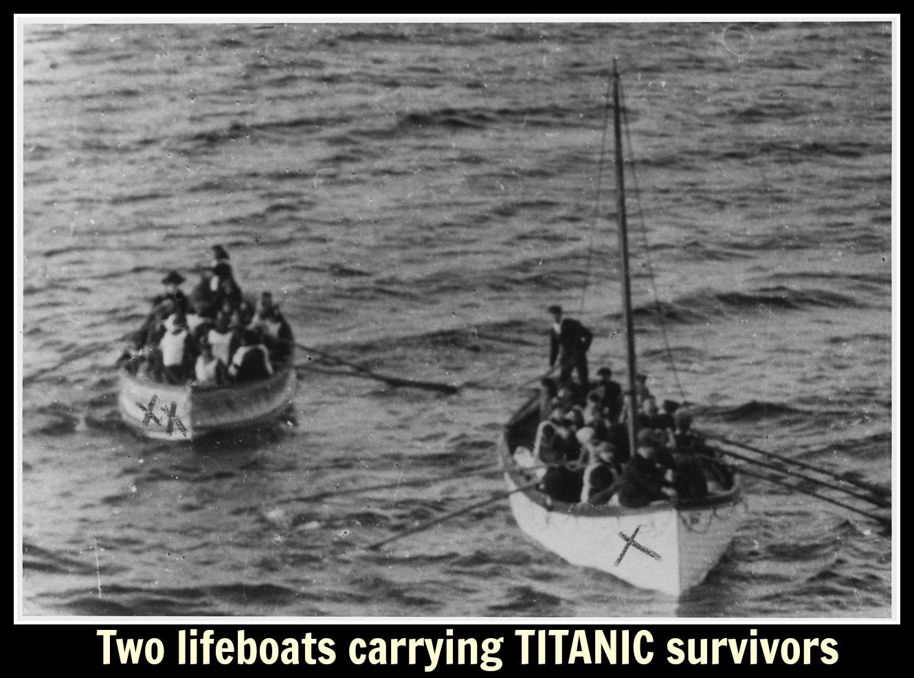 two lifeboats carying TITANIC survivors text