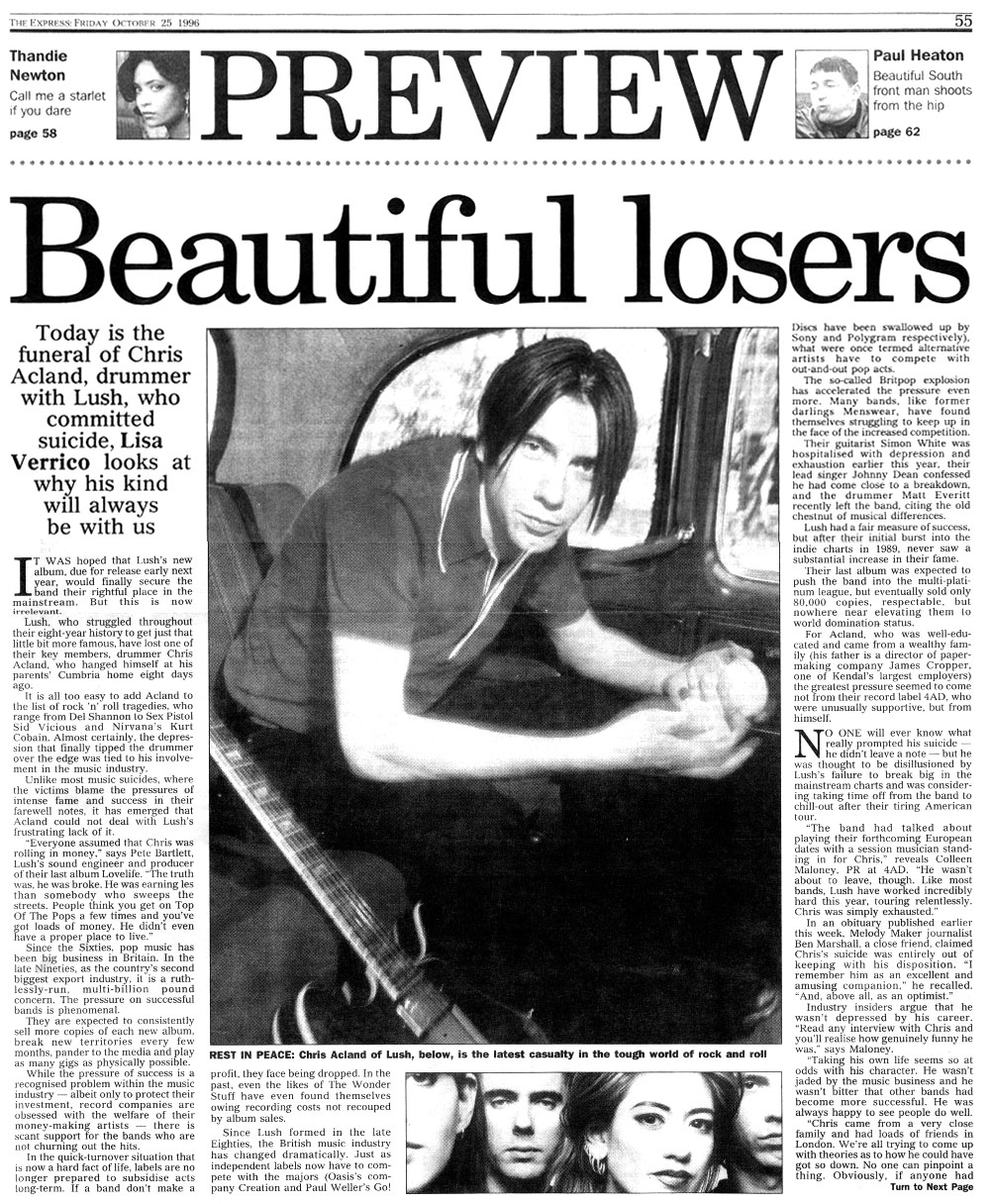 Lush news paper article The Express - Beautiful Losers - p1.jpg