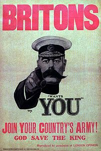 The  Britons (Lord Kitchener) Wants YOU  poster dating from September 1914