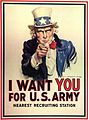 United States, 1917. J. M. Flagg's Uncle Sam recruited soldiers for World War I and World War II. I Want YOU for U.S. Army