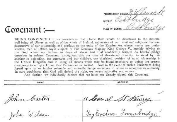 ulster covenant 2 signed
