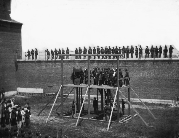 The condemned Lincoln conspirators on the scaffold, 1865