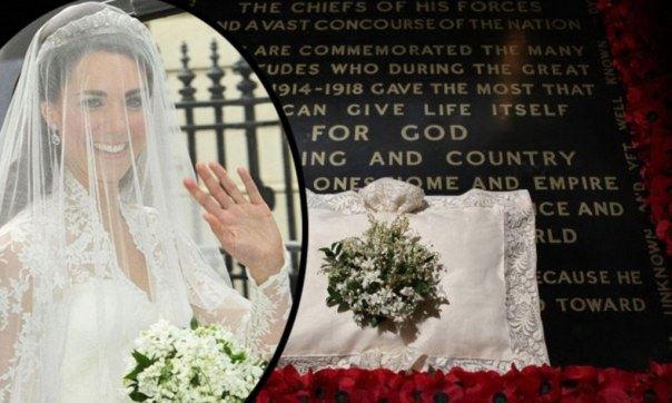 Kate Middleton's bridal bouquet placed at Grave of Unknown Warrior.jpg