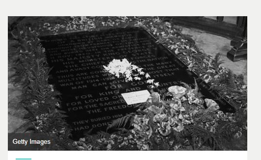 Princess Elizabeth's wedding bouquet on the Tomb of the Unknown Warrior, a tradition started by her mother in 1923..JPG